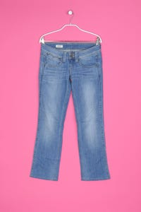 Pepe Jeans - used look straight cut jeans mit logo-stickerei - W27