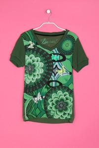 Desigual - muster-kurzarm-shirt aus baumwolle mit schmuckstein-applikation - L