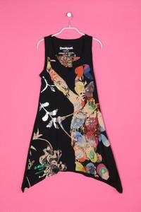 Desigual - muster-kleid aus baumwolle mit logo-print - S