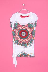 Desigual - kurzarm-shirt mit print mit strass-steinen mit logo-stickerei - M