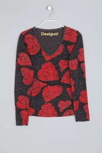 Desigual - longsleeve-shirt aus baumwolle mit logo-print - M