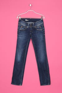 Pepe Jeans - used look straight cut jeans mit logo-stickerei - W25