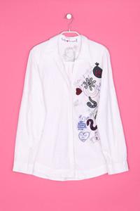 Desigual - hemd-bluse mit print mit patches - S
