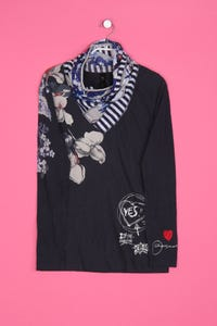 Desigual - print-longsleeve-shirt mit floralem muster mit logo-stickerei - S