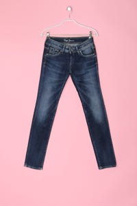 Pepe Jeans London - jeans im used look mit logo-stickerei - S