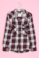 ZARA WOMAN-Karo-Bluse mit Krempel-Ärmeln mit aufgesetzten Taschen mit Krempel-Ärmeln mit aufgesetzten Taschen-S