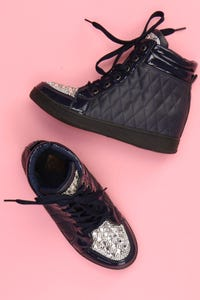 Ohne Label - high-top sneakers mit schmuckstein-applikation -