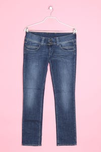 Pepe Jeans London - used look straight cut jeans mit logo-patch - W31