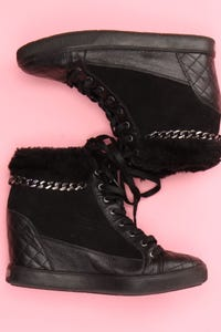 GUESS - high-top sneakers aus leder mit kette -