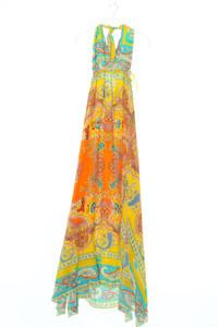 ADELE FADO - neckholder-kleid aus seide mit schlitz - D 38