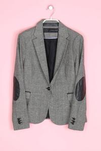 ZARA - karo-blazer aus woll-mix mit elbow patches - L