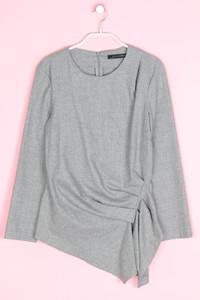 ZARA WOMAN - strick-pullover aus woll-mix in wickel-optik mit falten - S
