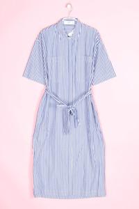 MANGO - streifen-kleid im marine-stil mit aufgesetzten taschen - M