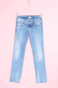 Pepe Jeans London - used look straight cut jeans mit logo-patch - W28