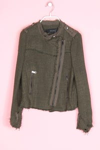 ZARA - bouclé-military-jacke mit elbow patches - M
