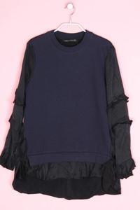ZARA - two tone-satin-sweatshirt mit volants - S