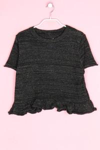 Zara Knit - glitzer-strick-pullover mit schößchen - M