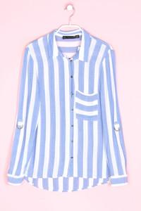 ZARA - streifen-hemd-bluse mit krempel-ärmeln - S