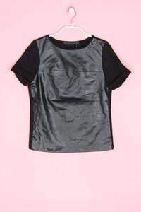 ZARA - kurzarm-shirt mit kunstleder-details - XS