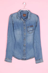 Superdry. - jeans-bluse mit logo-applikation - XS