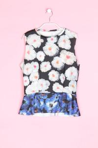 ZARA - ärmellose bluse mit blumen-print - M