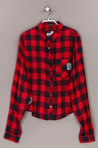 Superdry. - karo-bluse mit logo-stickerei - L