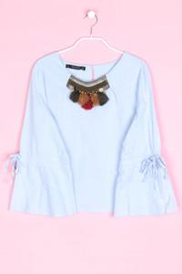 ZARA - bluse im folklore-stil mit schmuckstein-applikation - XL