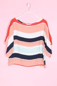 ZARA - oversize-kurzarm-bluse mit streifen - S