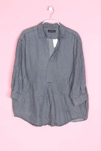 ZARA WOMAN PREMIUM DENIM COLLECTION - bluse in denim-optik mit 3/4-ärmel - M