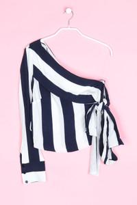 ZARA TRF - one shoulder-bluse mit streifen - XS