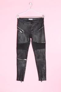 ZARA WOMAN PREMIUM DENIM COLLECTION - coated-leggings im biker-stil mit zipper - XS
