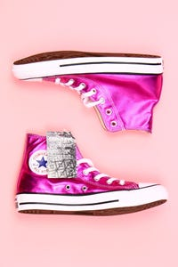 CONVERSE - metallic-high-top sneakers -