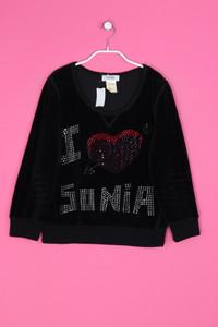 SONIA BY SONIA RYKIEL - Samt-Sweatshirt mit Schmuckstein-Applikationen - S