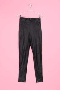 TOPSHOP - Faux Leather-Leggings mit Reißverschluss - S