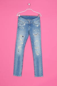 Pepe Jeans London - Distressed Jeans mit Logo-Patch - S