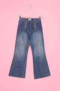 Pepe Jeans London - leichte Used Look Bootcut-Jeans mit Schmuck-Knöpfen - M