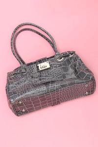 Leder-Handtasche mit Kroko-Prägung