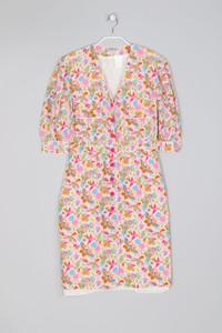 ANTONETTE - Vintage-Seiden-Kleid mit Blumen-Print - S