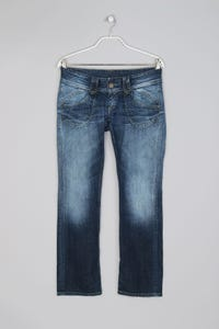 Pepe Jeans London - Used Look Bootcut-Jeans mit Logo-Patch - L