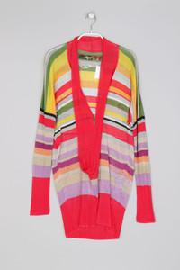 Desigual - Streifen-Strick-Pullover mit tiefem Ausschnitt - M